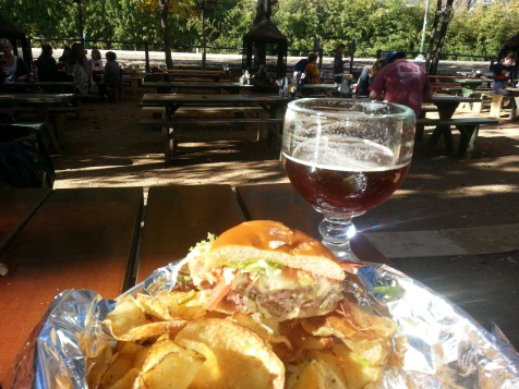 The view from my table at the Katy Trail Ice House in Dallas. Note the perfectly pink color of the burger, the beautiful amber hue of the beer, and the glorious sunshine on the backyard adjacent to the Katy Trail in the near distance.