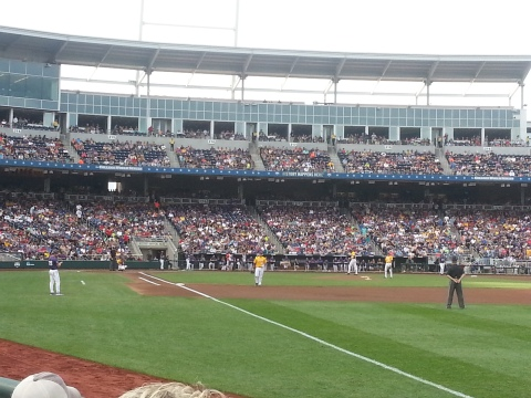 My view from right field at the College World Series.