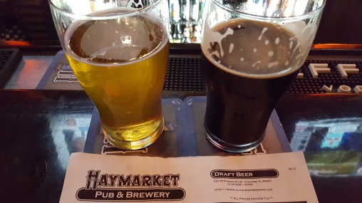 The Toonces IPA and the Defender American Stout, both from Haymarket Pub & Brewery in Chicago.
