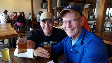 My IPA slurping friend, left, and her drinking buddy Phil plow through another two IPAs, this time at 406 Brewing Co.