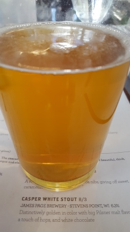 The White Stout from James Page Brewery tasted like a combination of Pilsner and chocolate.